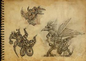 Steampunk creatures by JR-Dragona