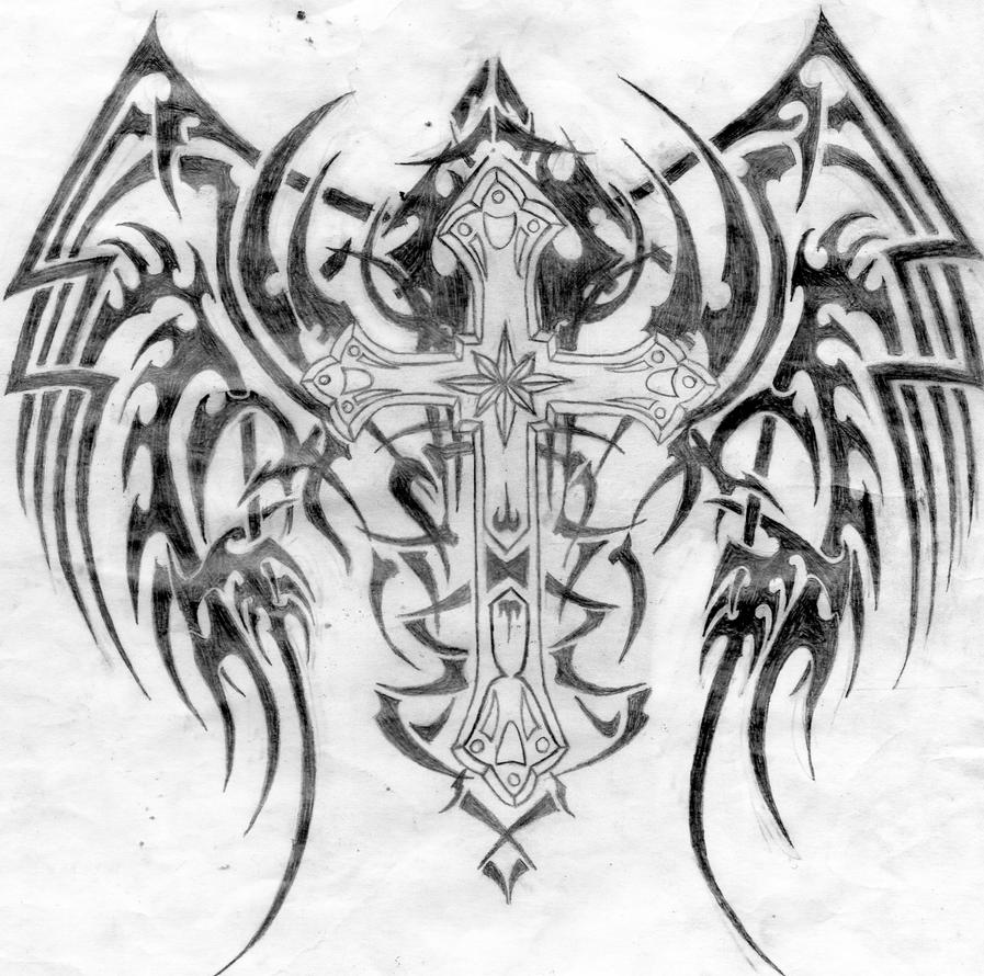 This is a graphic of Impeccable Tribal Cross Drawing