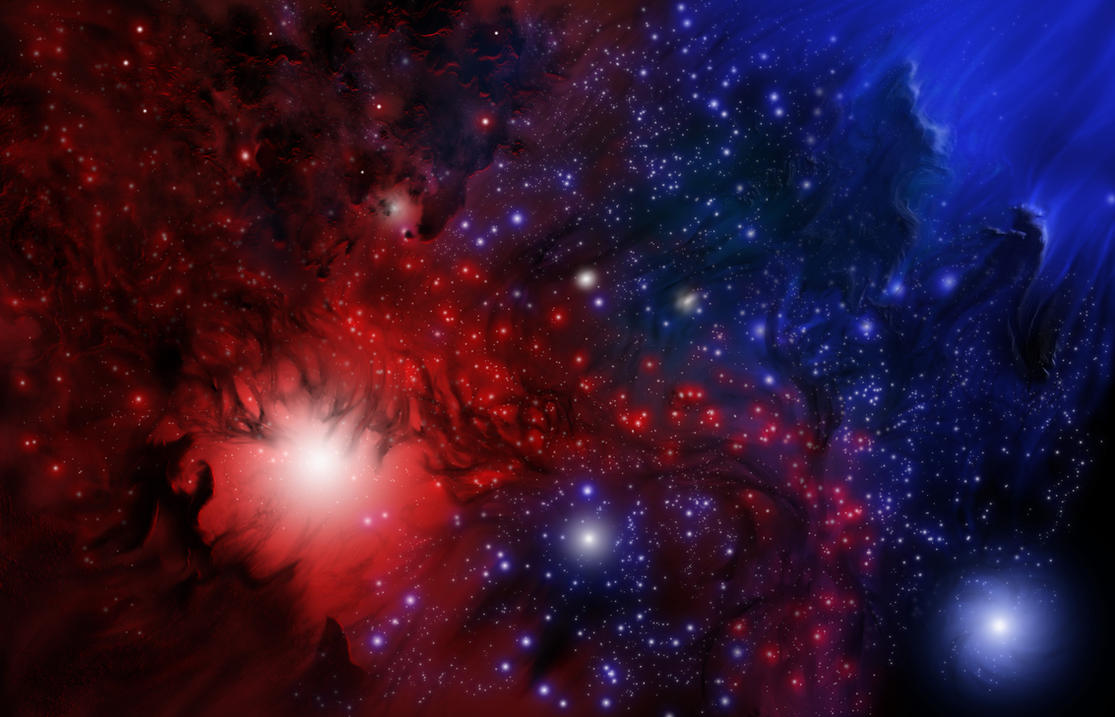 Red vs blue nebula by steveallred on deviantart - Red space wallpaper 4k ...