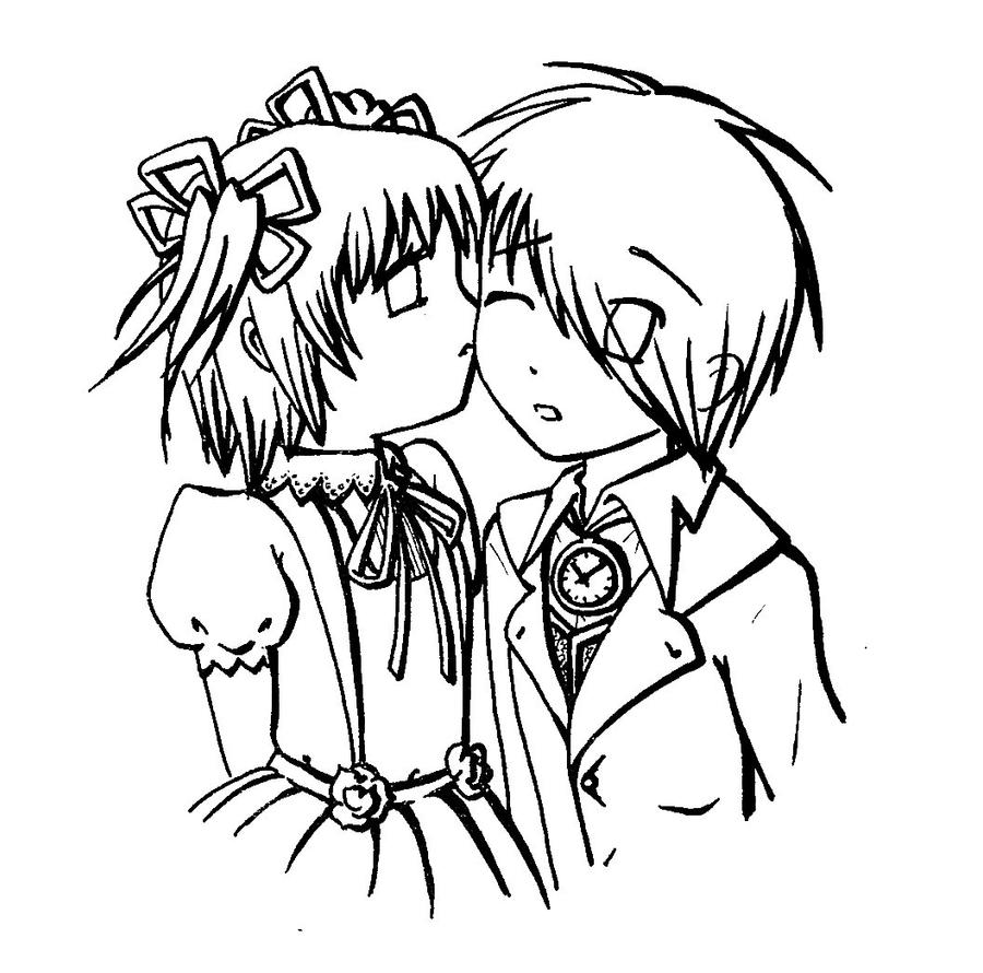 emo couples coloring pages - photo#32