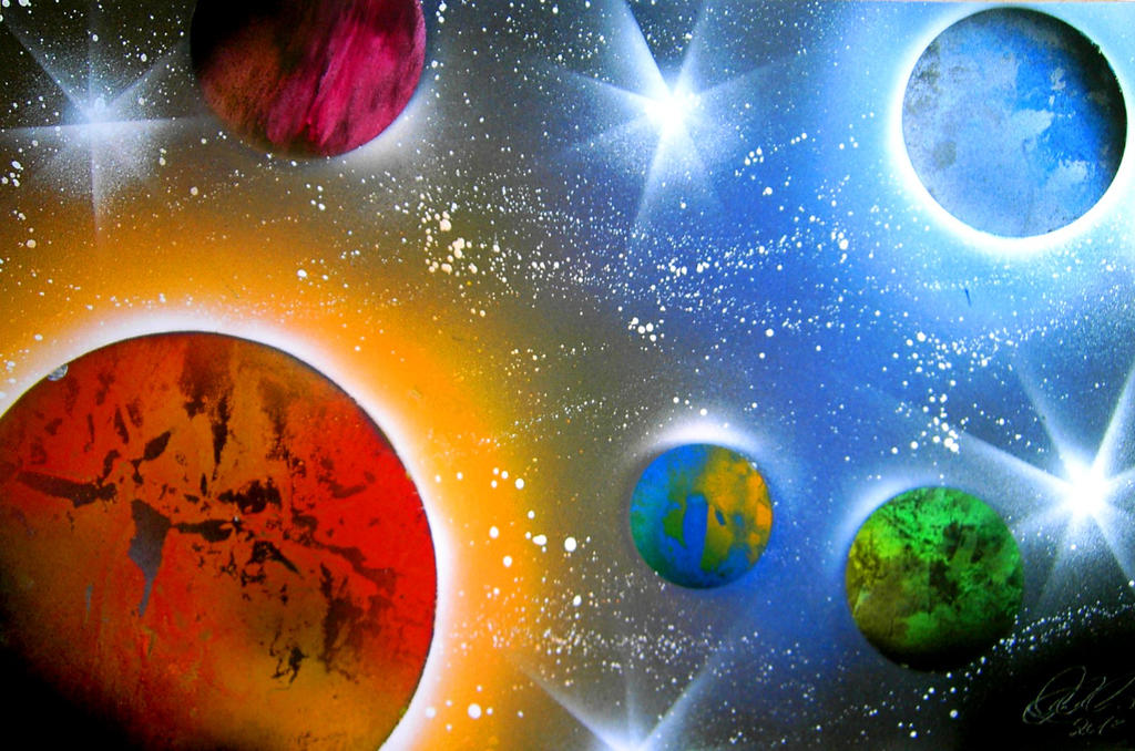 Spray paint planets by clanaad on deviantart for How to spray paint art on canvas