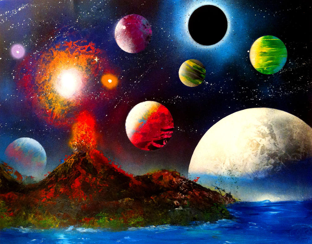 Spray Paint Art  Planets