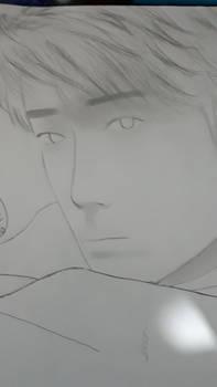 Xiao Zhan face shading sketch