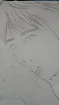 Xiao Zhan flowers sketch