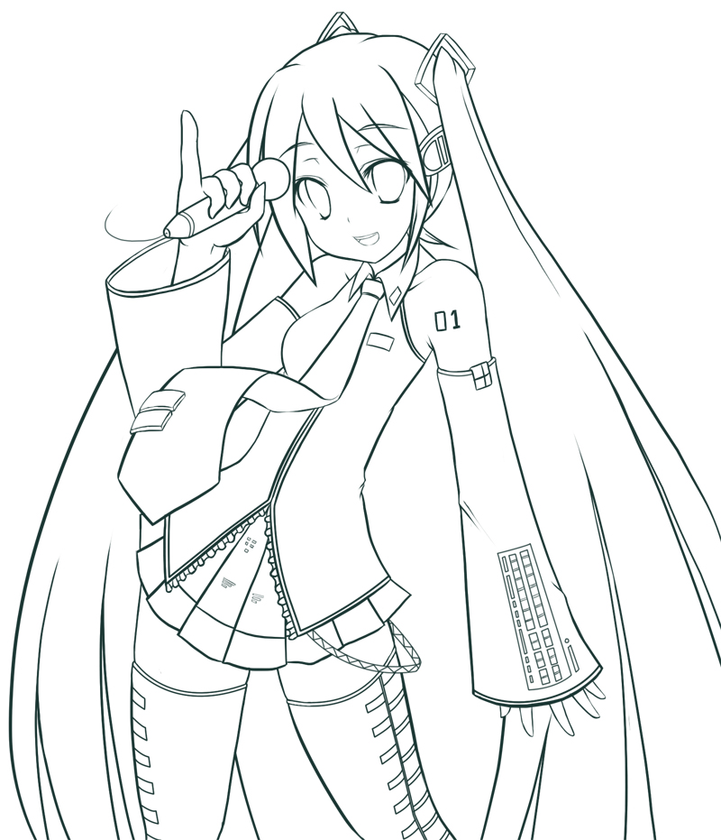hatsune miku coloring pages - photo #9