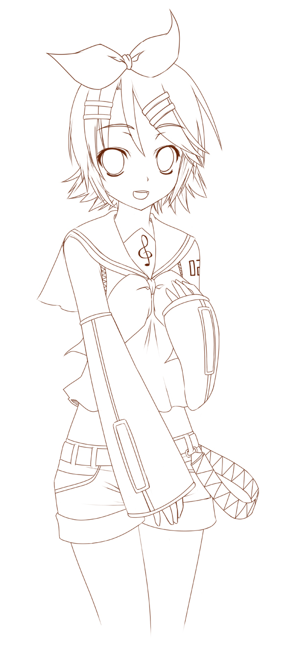 Kagamine Rin Lineart By Mightyleafy On Deviantart