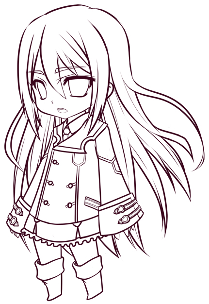 Chibi Lineart : The gallery for gt anime girl lineart ms paint