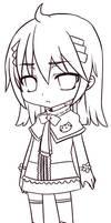 Chibi Neko Girl Lineart