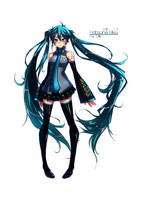 Hatsune Miku (Commission) by MightyLeafy