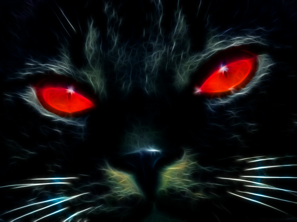 Black Cat With Pink Scary Eyes: Black Cat Fractalius By ChrisHateZ On DeviantArt