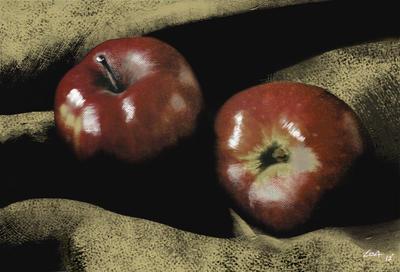 Apples on Burlap by finkybeatnik