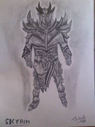 Daedric Armor Drawing by Darkmicha91