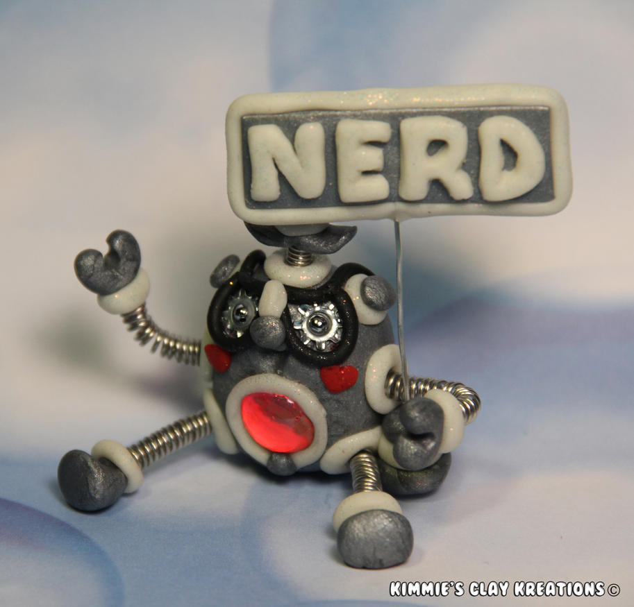 Polymer Clay Robot I'm a Nerd Glow LED Figurine by KIMMIESCLAYKREATIONS