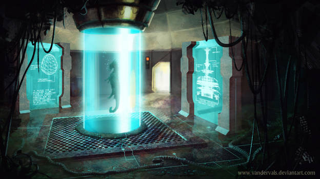 Alien crocodile laboratory