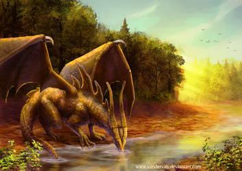 Gold dragon drinking by vandervals
