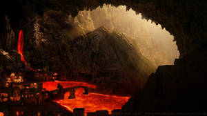 Matte painting lava city