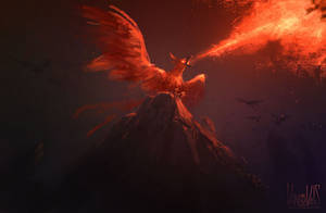Phoenix protecting its babies