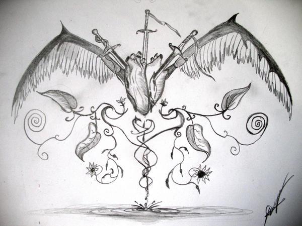 Dibujos a lápiz de corazones con alas - Imagui