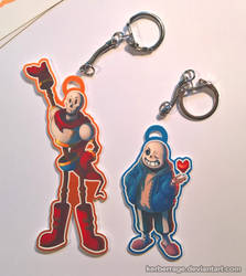Sans and Papyrus - Keychains by Kerberrage