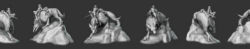 Alrick and Carmen - 3D Sculp Grey Views by Kerberrage