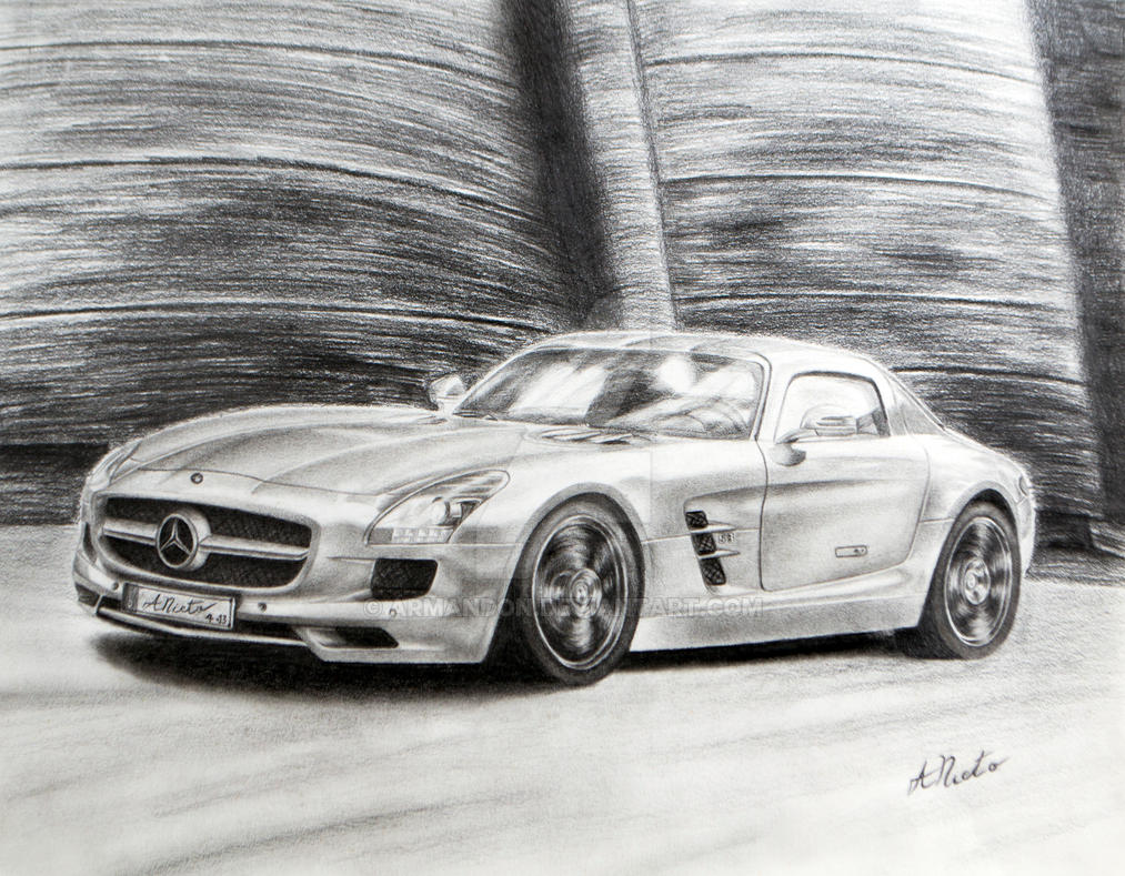 mercedes benz sls amg made with graphite pencil by armandon on deviantart. Black Bedroom Furniture Sets. Home Design Ideas