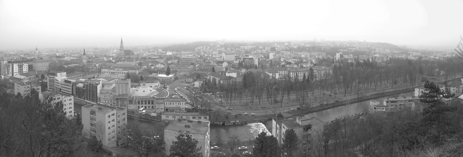 Panoramic view Cluj B-W by Goppo713