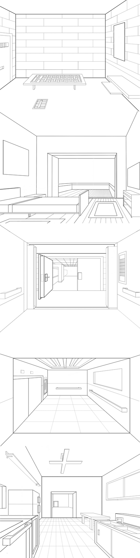 Point Perspective Room Below Eyelevel