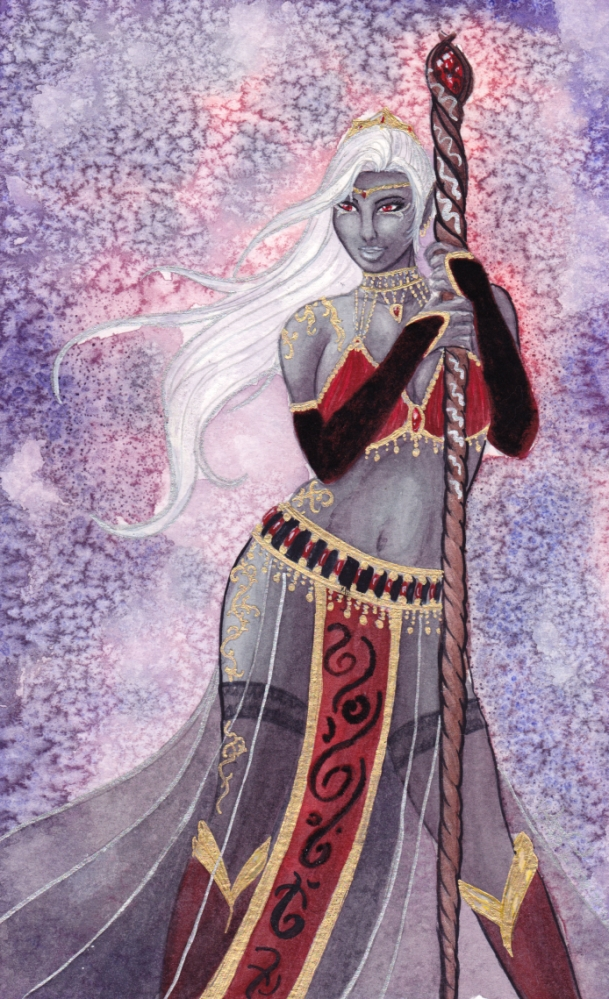 Watercolor: Drow Mage by Yako