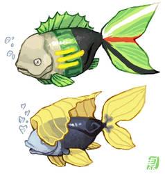 Zoro and Sanji fish by emlan