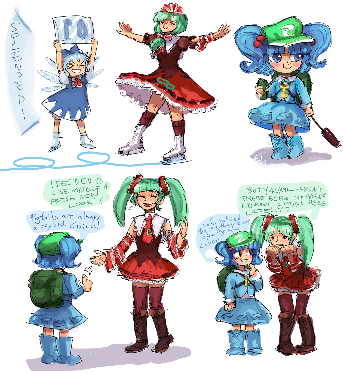 Touhou scribbles I by emlan