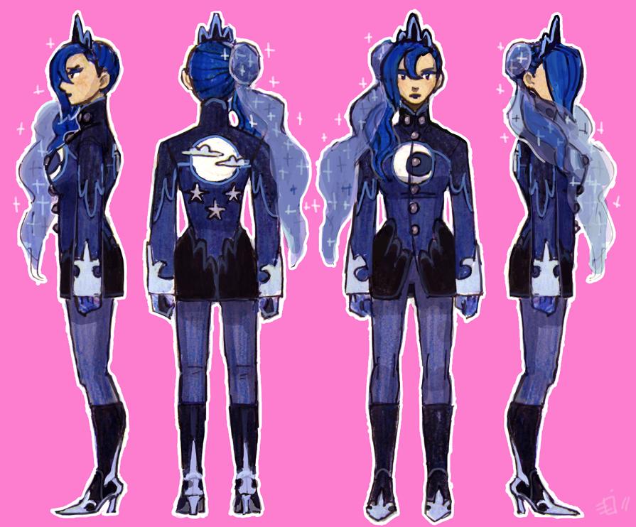 Gijinka - MLP Luna concept by emlan