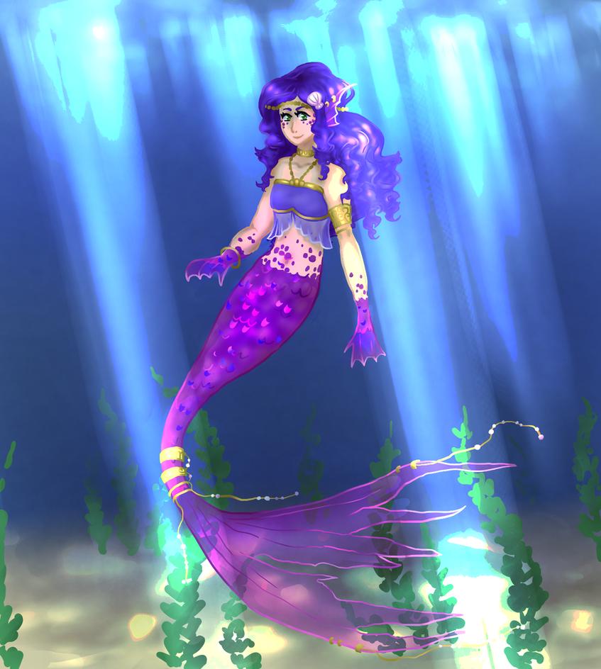 Adyl the Blue Fire Mermaid by cwonadoonoo
