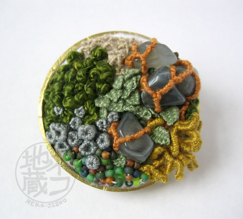 Moss Garden - Embroidered Terrarium Brooch by nekojizou