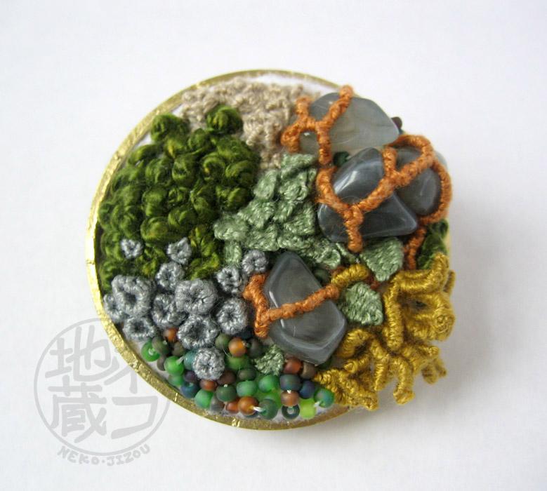 Moss Garden - Embroidered Terrarium Brooch by nekojizou