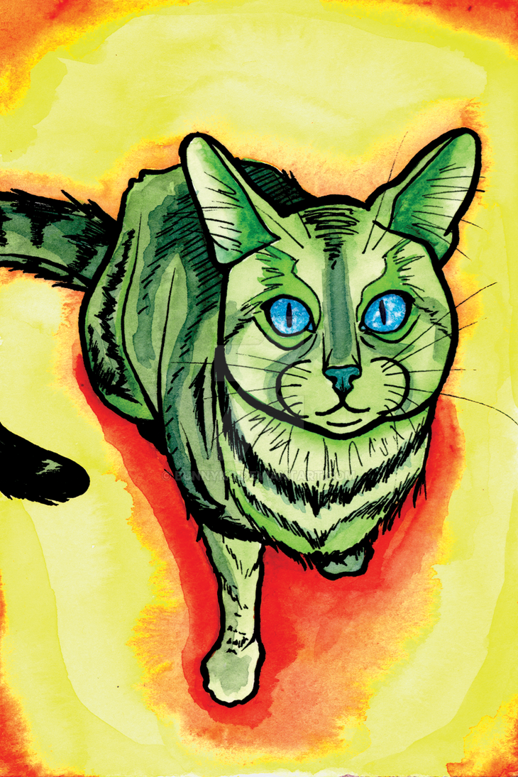 Green Cat by Bunnyko