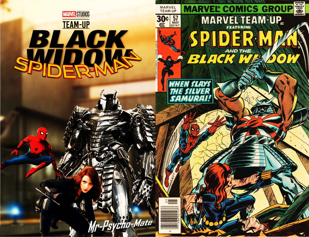 Spider Man And Black Widow Team Up Side By Side By Mr
