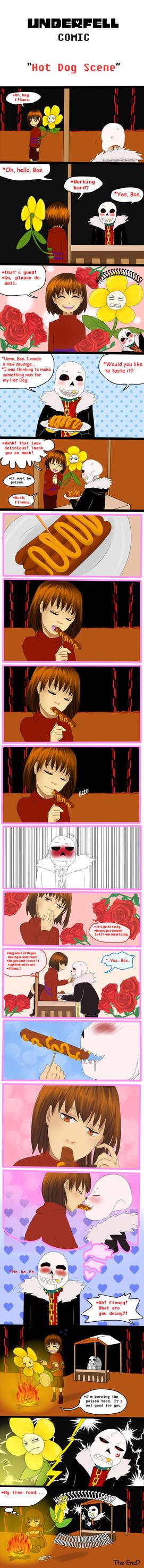 Underfell Comic: Hot Dog Scene by vanillaxbiscuit