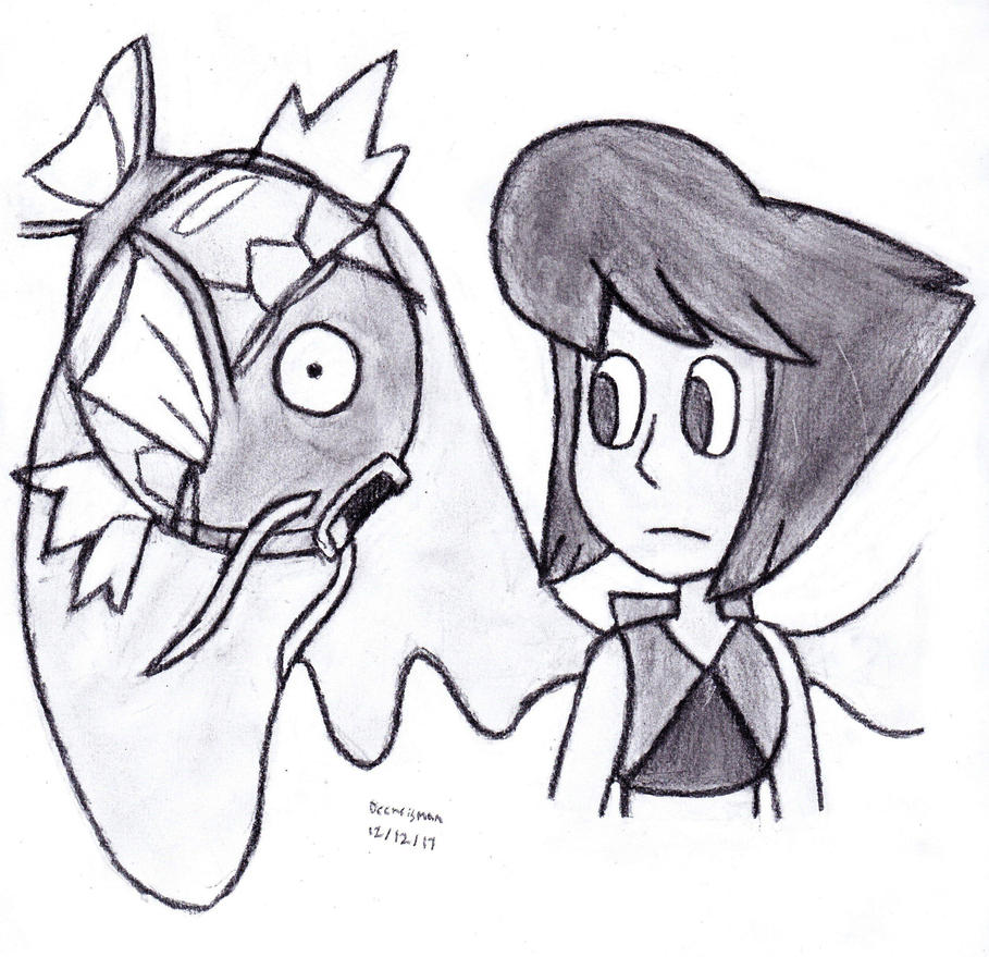 Just a dumb idea I had of a Magikarp stuck in the horrible limbo that is Lapis's wings. Binding it time until it evolves and proving it it the OG of water/flying types. While Lapis just stares at i...