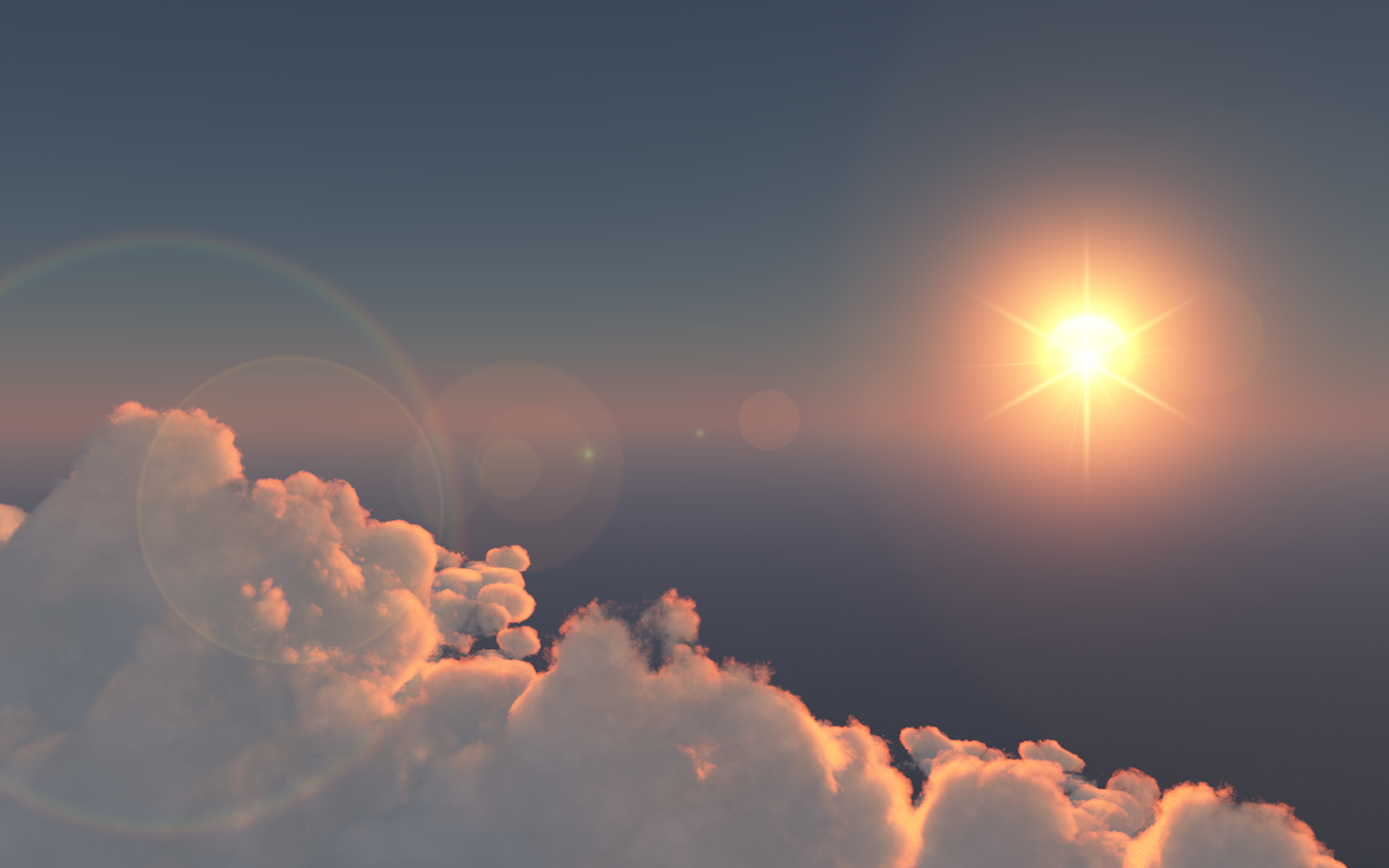Sunrise above a lonely cloud