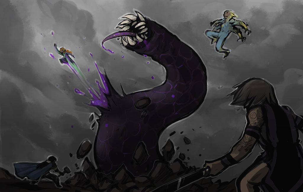 Purple Worms by Kiqo7