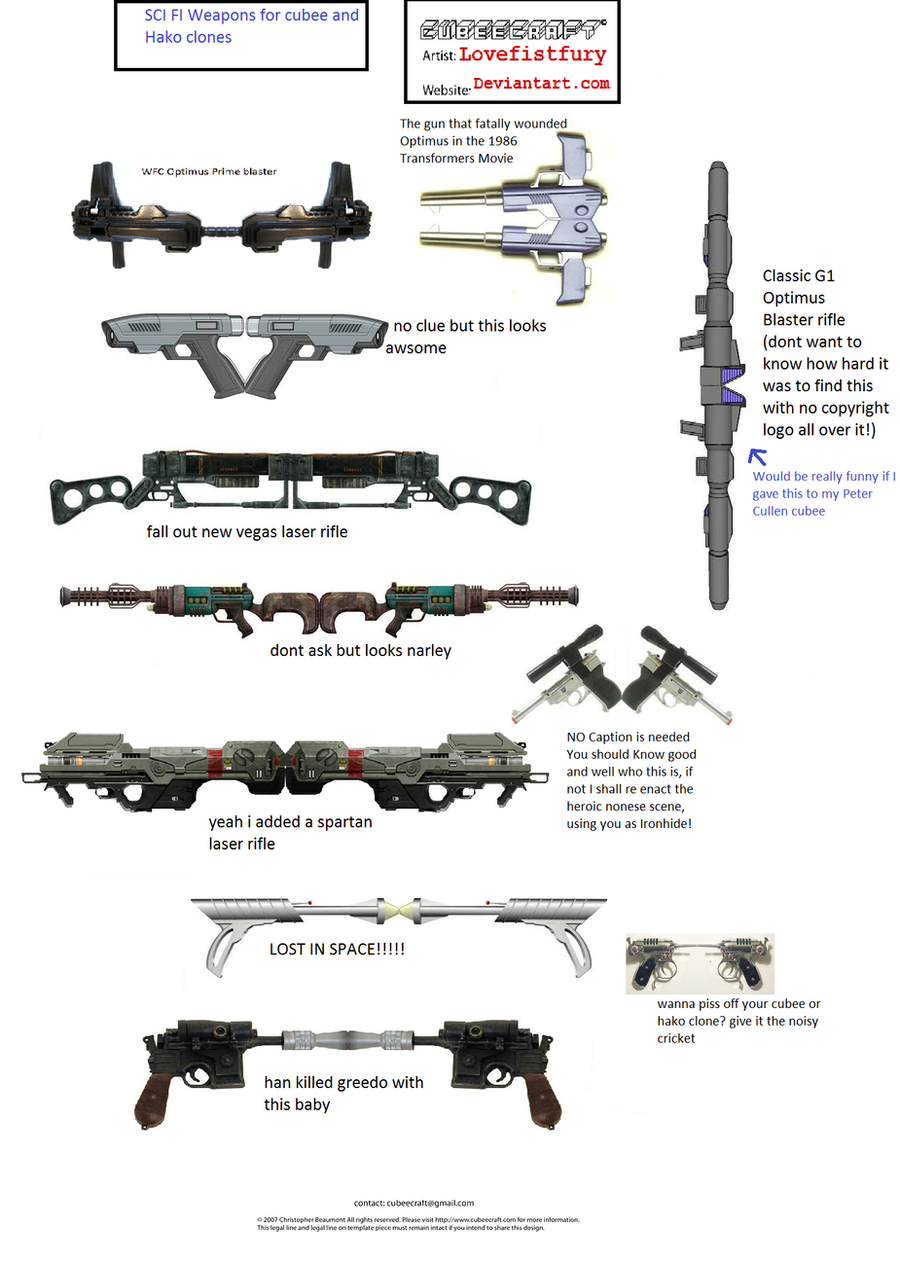sci fi weapons for cubee and hako clones by lovefistfury