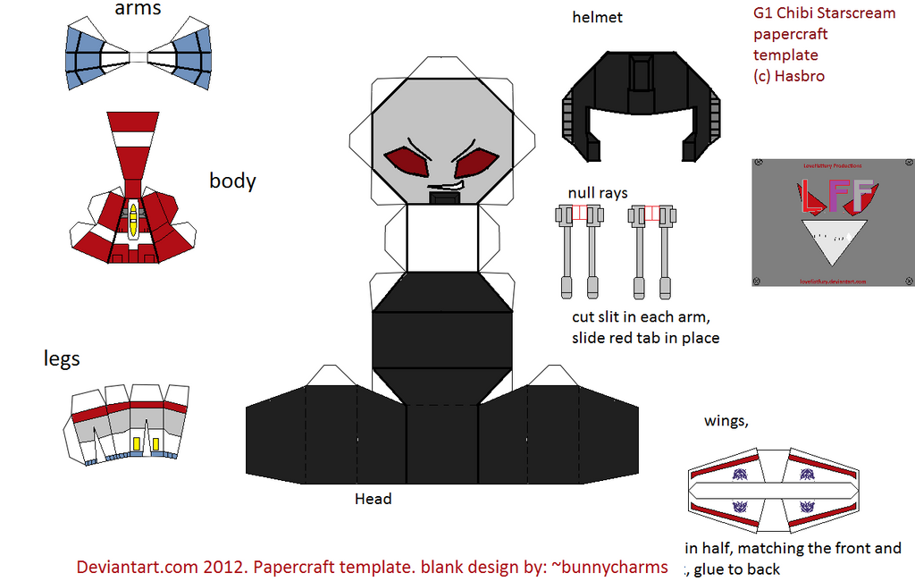 chibi G1 Starscream Papercraft template by lovefistfury