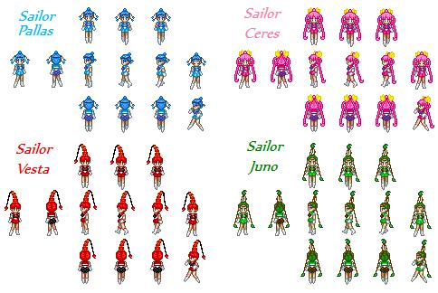 Sailor Quartetto Sprites by SailorPhantom