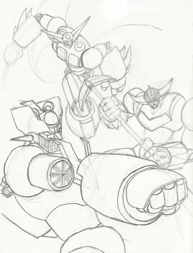 Mazinger Z, Getter-1 and Grendizer (Sketch) by Shin-Ian