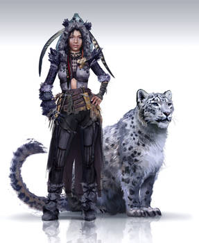 Girl with snow leopard - concept