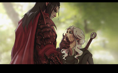 Ciri and Eredin by Skyrawathi