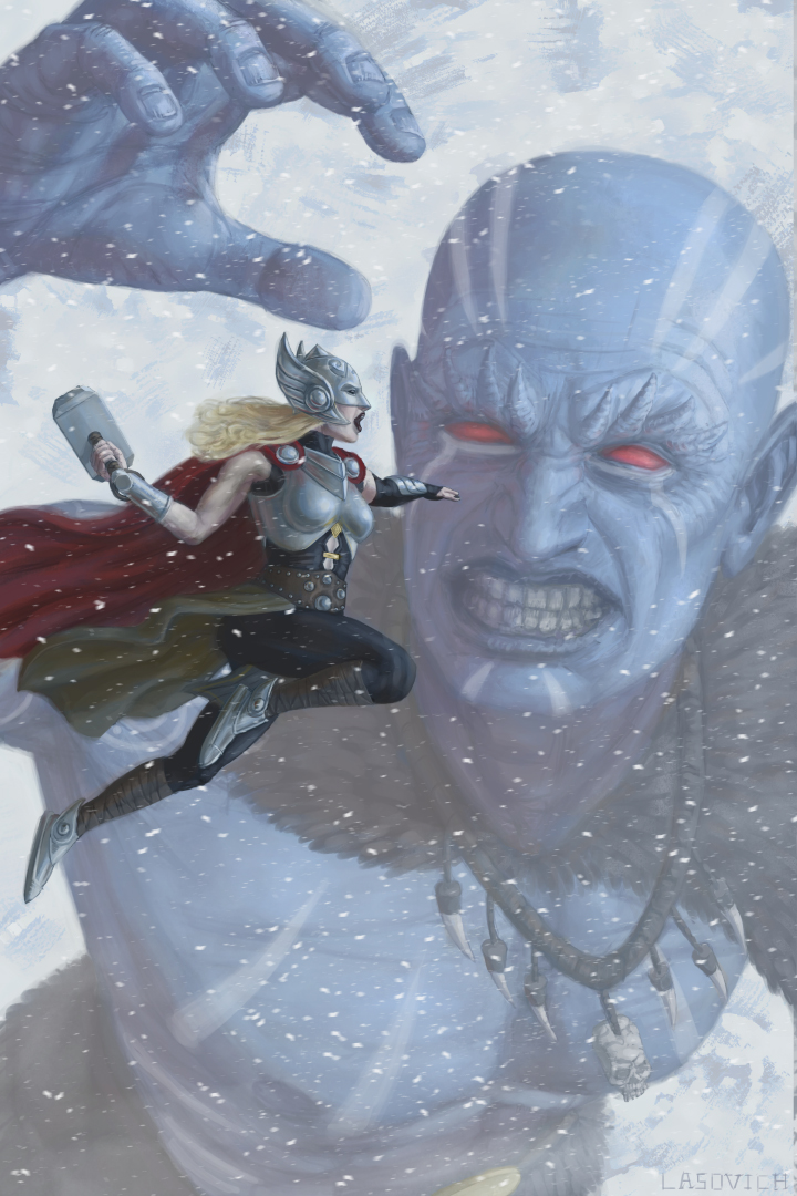 Nick-Lasovich--Thor-vs.-Frost-Giant by mr-sinister2048