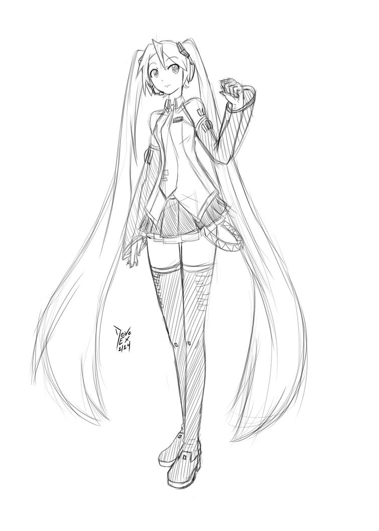 Hatsune Miku Sketch by DeiveEx