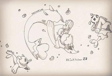 Inktober 27 - Popplio, Brionne and Primarina by DeiveEx