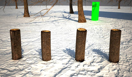 Wooden Posts and green rectangles